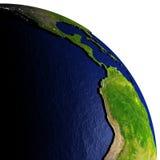 De oostelijke Stille Oceaan bij nacht op model van Aarde met in reliëf gemaakt land Stock Foto's