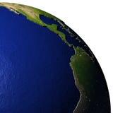 De oostelijke Stille Oceaan op model van Aarde met in reliëf gemaakt land Stock Fotografie