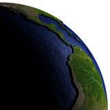De oostelijke Stille Oceaan op model van Aarde met in reliëf gemaakt land Stock Foto's