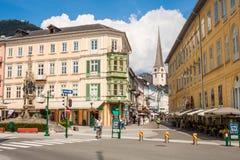 De Oostenrijkse centrale straten van Ischl van de toevluchtstad Slechte in de zomer royalty-vrije stock foto