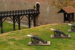 De Oostenrijkse kanonnen van de de 17de eeuwdefensie - het fort van Carolina in Alba Iulia Romania stock foto's