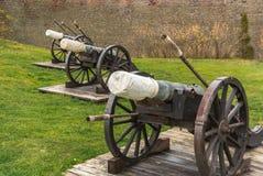 De Oostenrijkse kanonnen van de de 17de eeuwdefensie - het fort van Carolina in Alba Iulia Romania royalty-vrije stock foto's