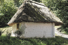 De Oostenrijkse met stro bedekte kelder van de dakwijn Stock Fotografie