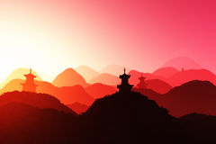 De oosterse 3D Zonsondergang geeft terug Royalty-vrije Stock Foto