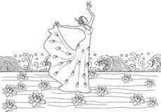 De oosterse jonge dame in dans stelt lotusbloembloem Stock Fotografie