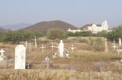De Opdrachtsan Xavier begraafplaats werd opgericht tussen 1783 en 1897 in Tucson Arizona stock afbeeldingen