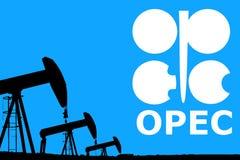 De OPEC-embleem en de pomphefboom van de silhouet industriële olie Stock Fotografie