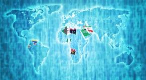 De OPEC-grondgebied op wereldkaart Stock Fotografie