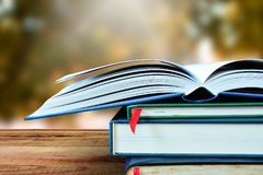 De open boeken en achtergrond van de onduidelijk beeldaard Stock Foto's