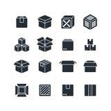 De open en gesloten geïsoleerde pictogrammen van het doos zwarte silhouet Pakket vectorsymbolen vector illustratie