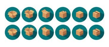 De open en gesloten kringloop bruine verpakkende doos van de kartonlevering royalty-vrije illustratie
