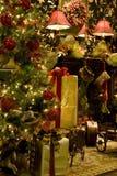 De open haard van de kerstboom royalty-vrije stock fotografie