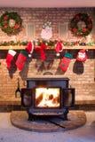 De Open haard van Kerstmis royalty-vrije stock afbeeldingen