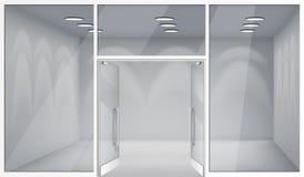 De open lege binnenlandse voor de opslag realistische vensters van de deuren 3d winkel plaatsen van het malplaatjemodel vectorill royalty-vrije illustratie