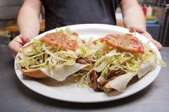 De Open Onder ogen gezien Onderzeese Sandwich van de Italiaanse sandwich op een plaat Royalty-vrije Stock Fotografie