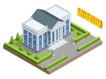 De openbare de overheidsbouw van de stadsarchitectuur De isometrische museumbouw Buitenkant van de Museumbouw met titel en royalty-vrije illustratie