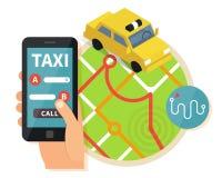 De openbare taxi online dienst, mobiele toepassing Stock Foto