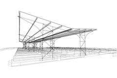 De openlucht abstracte, 3d illustratie van de parkerenstructuur, architectuurtekening Royalty-vrije Stock Afbeeldingen