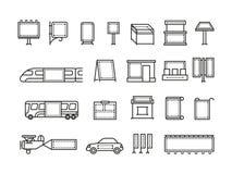 De openlucht het reclamebanners en vervoer adverteren vectorlijnpictogrammen Stock Afbeelding