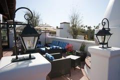 De openlucht Zitkamer van het Restaurant van het Terras Stock Afbeelding
