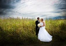 De openluchtportretten van het huwelijk stock fotografie