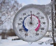De openluchtthermometer toont temperatuur royalty-vrije stock fotografie