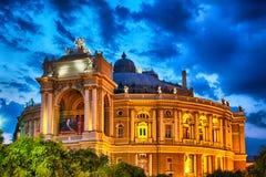 De Opera van Odessa en het Theater van het Ballet bij nacht stock fotografie