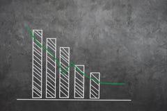 De de opgepoetste achtergrond en textuur van de cementmuur grunge De voorgrond is grafieken, wijst de statistieken op de positiev Stock Afbeelding