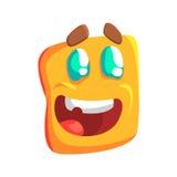 De opgewekte Gele Emoji-Vector Kleurrijke Geïsoleerde Sticker van het Beeldverhaal Vierkante Grappige Emotionele Gezicht Royalty-vrije Stock Foto