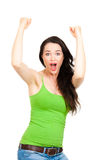 De opgewekte vrouw met dient de lucht in Stock Foto's