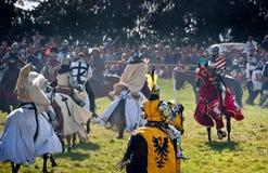 De opgezette Ridders vallen in Grunwald aan stock foto