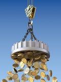 De opheffende magneet trekt geldconcept aan Royalty-vrije Stock Afbeeldingen