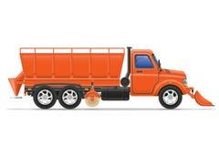 De ophelderingssneeuw van de ladingsvrachtwagen en bestrooid op de weg vectorillus Royalty-vrije Stock Afbeelding