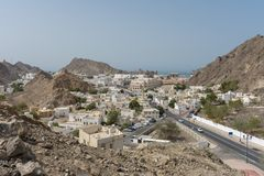 De opinião velha da cidade de Muscat rua principal fotografia de stock