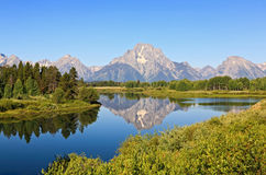 De opkomst van de Kromming Oxbow in Grand Teton Royalty-vrije Stock Foto's