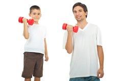 De opleiding van de vader en van de zoon met domoor Stock Fotografie