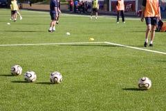 De opleidingssessie van het voetbal of van de voetbal Stock Afbeelding
