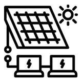 De oplossingspictogram van de zonnepaneelenergie, overzichtsstijl vector illustratie