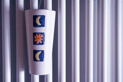 De oppervlakte van de radiator met luchtbevochtiger Stock Foto