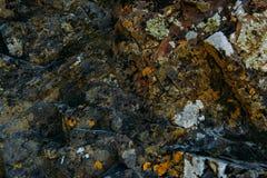 De oppervlakte van een oude rots met barsten en mos De oude wilde achtergrond van de rotstextuur royalty-vrije stock foto