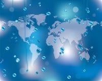 De oppervlakte van het glas met waterdalingen Stock Foto