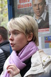 De oppositiekandidaat voor burgemeester van Khimki Stock Afbeelding