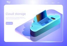 De opslag abstract concept van wolkengegevens Isometrisch Web-pagina malplaatje Vectorillustratie die apparaten op de wolk afschi royalty-vrije illustratie