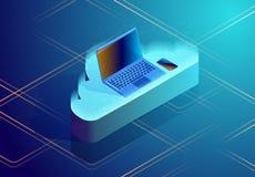 De opslag abstract concept van wolkengegevens Isometrische vectorillustratie die laptop op de wolk afschilderen vector illustratie
