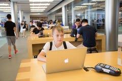 De opslag van de appel in Hongkong Royalty-vrije Stock Afbeeldingen