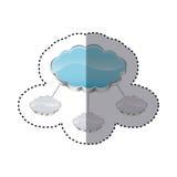 de opslag van de stickerwolk aan verscheidene server wordt verbonden die Stock Foto's