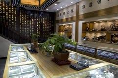 De opslag van het Uygurtafelzilver jewelries in Moslimkwart Xian royalty-vrije stock foto