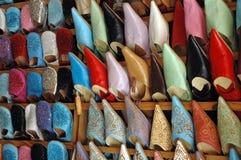 De opslag van schoenen in Marrakech Royalty-vrije Stock Afbeelding