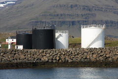 De opslagsilo's van de brandstof stock afbeeldingen