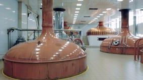 De opslagveel van kopercontainers bier bij een moderne brouwerijfabriek stock footage